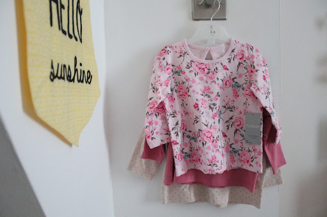 set of three baby long sleeved tops from matalan pink white floral polka dot