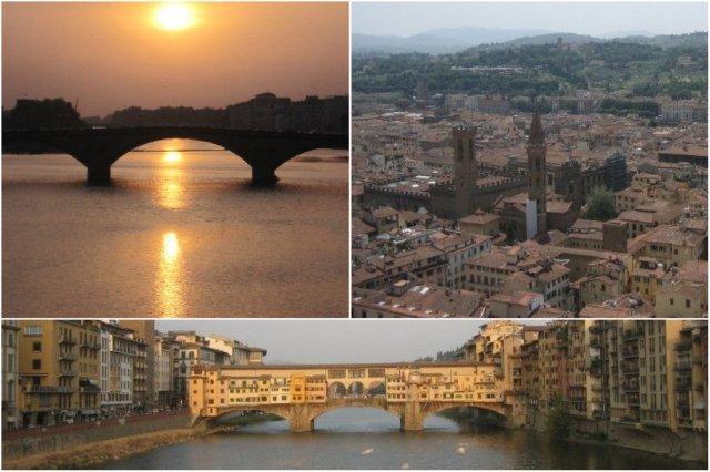 Ponte alla Carraia, panorámica de Florencia y Ponte Vecchio en Florencia, Firenze