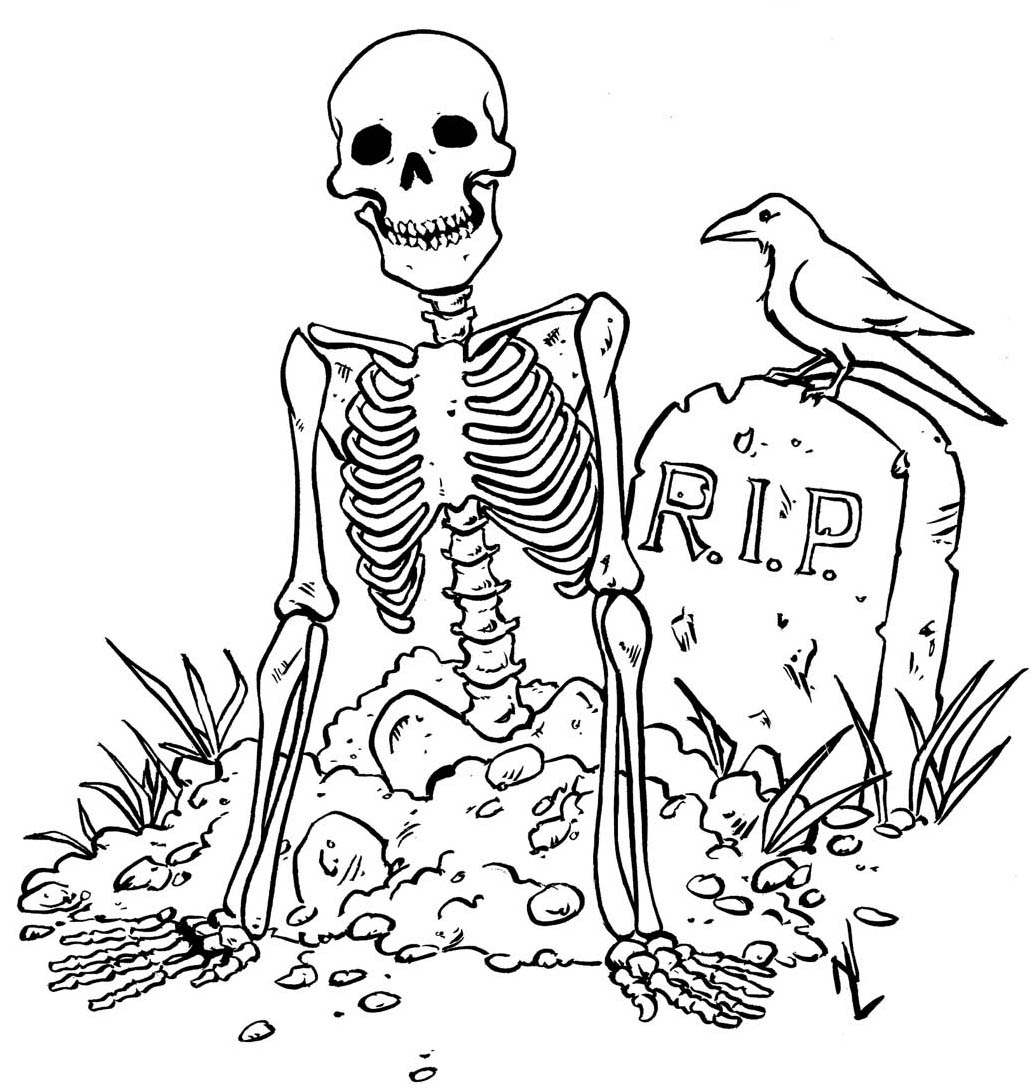 Halloween colorings for Grave coloring pages