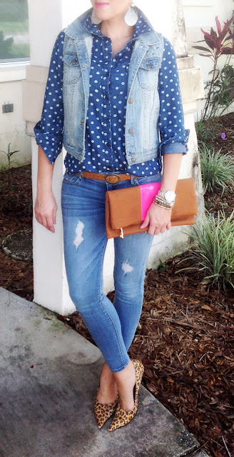 Denim, animal print, studs