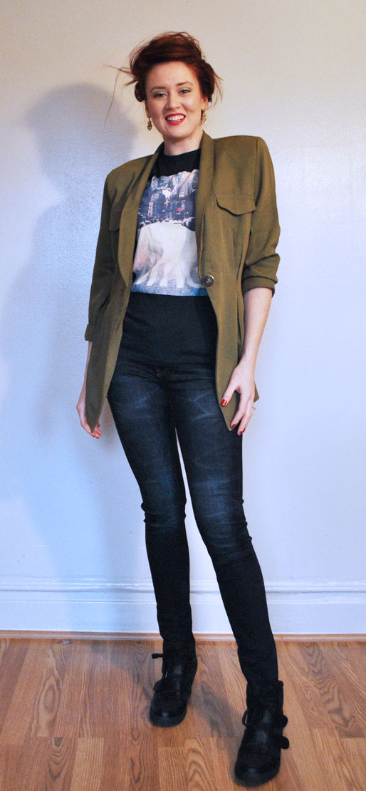 a style of your own blog, one jacket four ways, styling, fashion, outfits, tailored jacket, thrifting, sneaker wedges