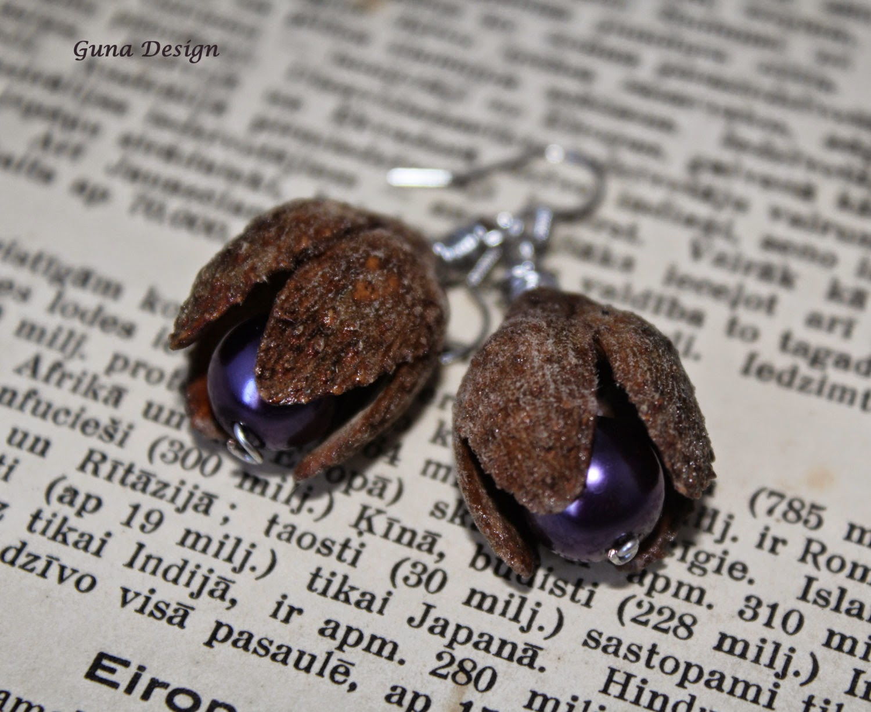 gunadesign guna andersone  Beech tree nut shell earrings
