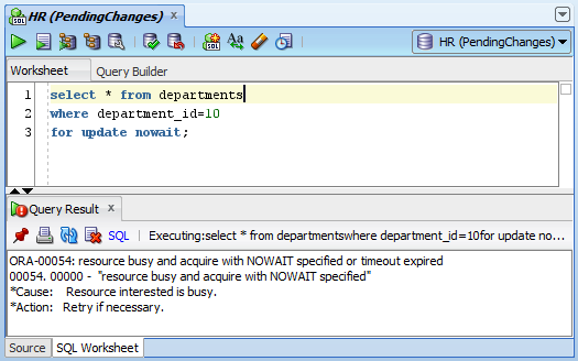 Resource Busy And Acquire With Nowait Specified Or Timeout Expired