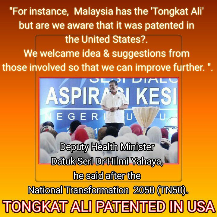 Tongkat Ali patented USA.