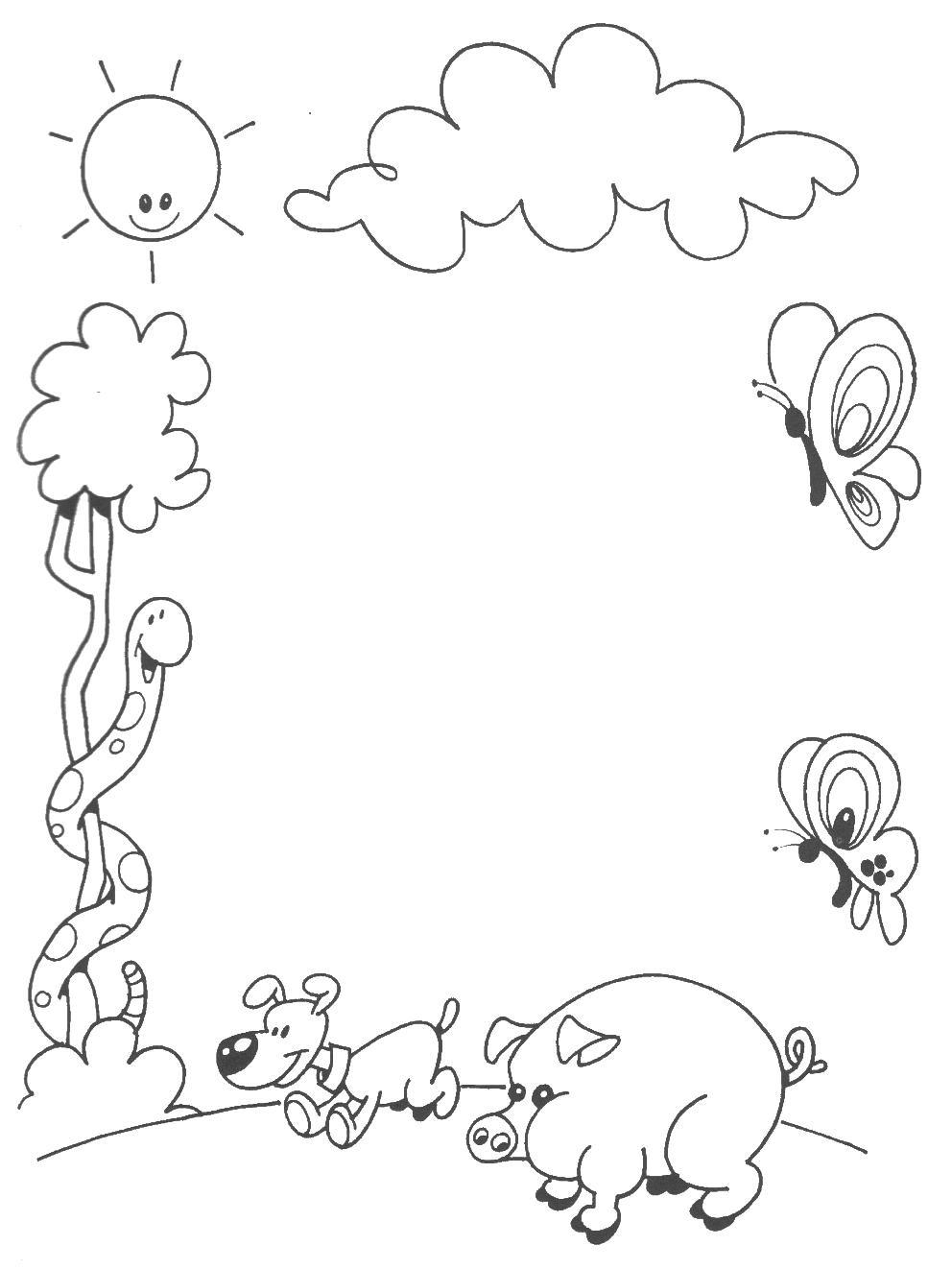 Marcos y bordes infantiles para colorear - Imagui