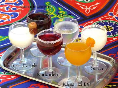 Ägyptische Ramadan Getränke Karkadeh Kamar El Din Tamer Hindi Subia Sobia Charob