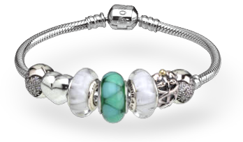 this is what my current bracelet looks like right now i bought the bluegreen charm as soon as i saw it because i thought it looked really summery and - Pandora Bracelet Design Ideas