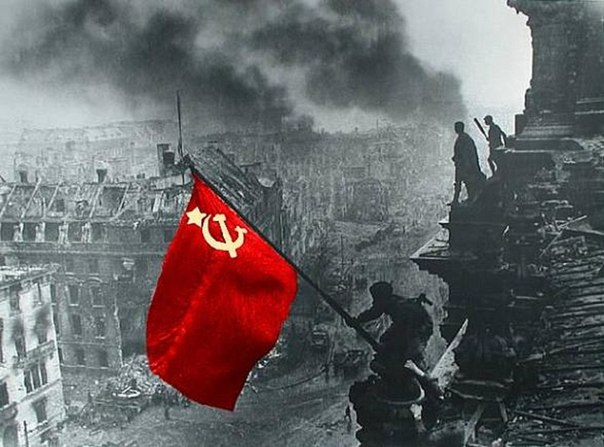 Victory Day May 9, 1945: Red Army soldiers hoist Victory banner over Reichstag