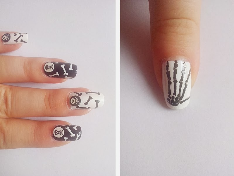 31DC2014 Day 7: BLACK & WHITE Nails - Skulls & Bones Nails