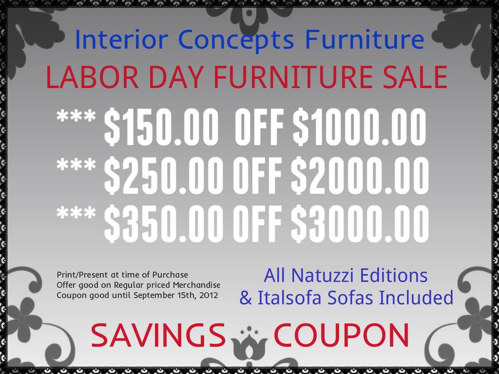 Natuzzi by Interior Concepts Furniture Labor Day
