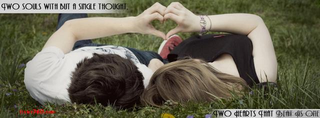 Ảnh bìa lãng mạn cho Facebook - Cover FB romantic timeline, nằm dưới thảm cỏ tay kết trái tim