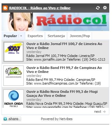 Colocar rádios ao vivo em seu site ou blog