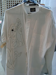 White Applique Wolf Men's Dress Shirt