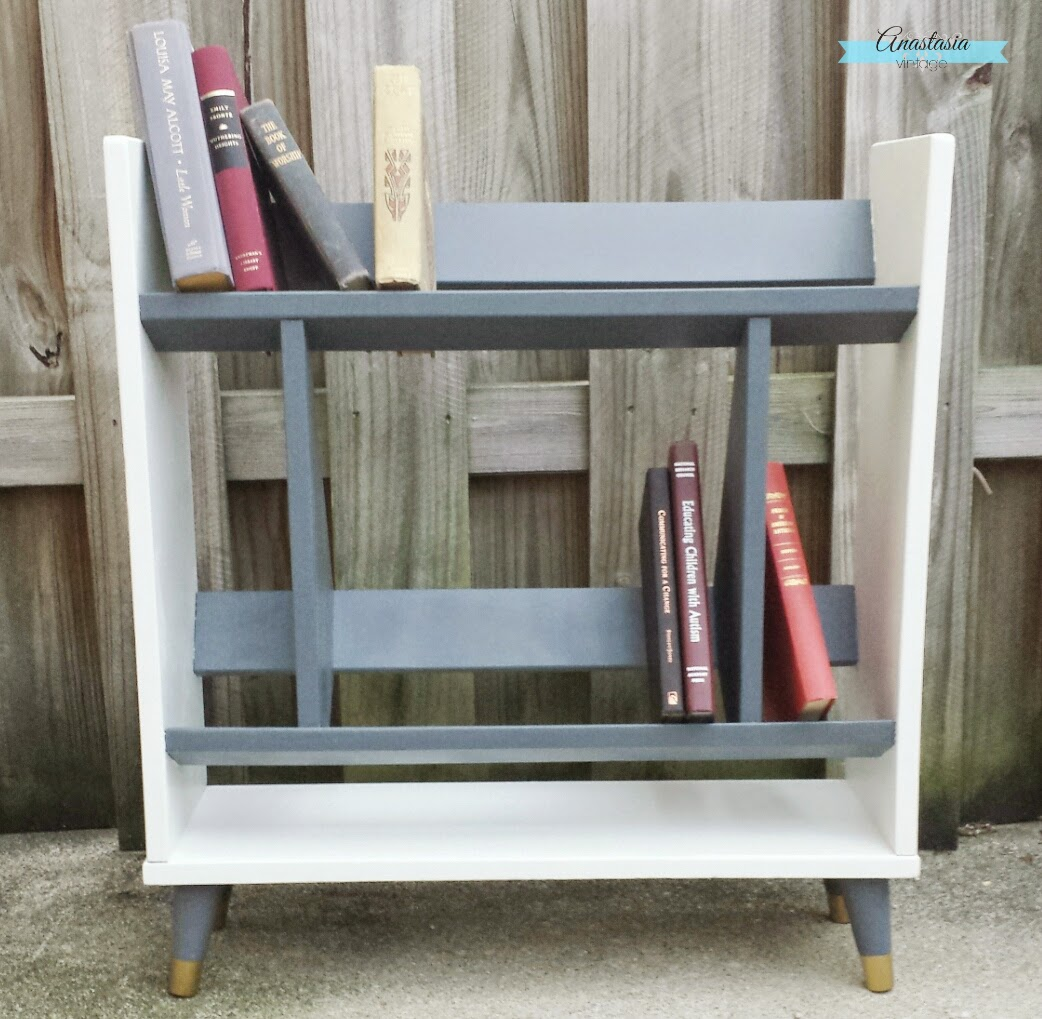 grey and white mid century modern bookcase