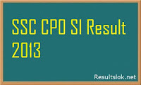 SSC CPO SI Result 2013 with Marks Cut Off Paper 2