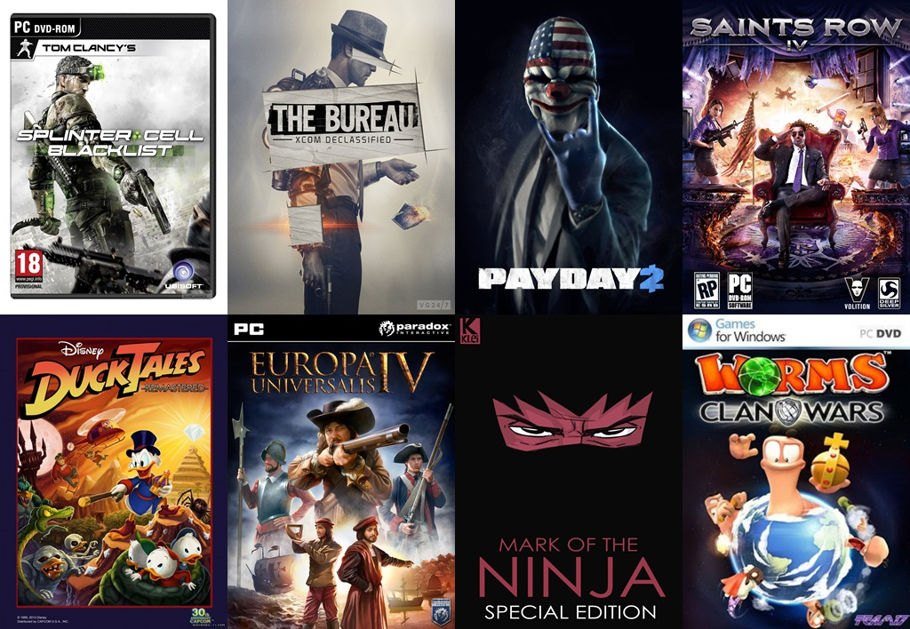 FIFA 13 V 1.7 Mark of the Ninja Special Edition  Payday 2  Saints Row 4 Space Hulk  Splinter Cell Blacklist - V.1.01 The Bureau XCOM Declassified Worms Clan Wars Dishonored The Brigmore Witches DLC