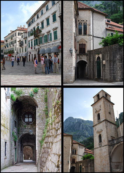 postcard style views of old town Kotor Montenegro