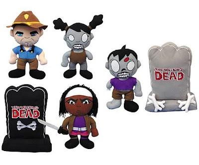 The Walking Dead Plush Figures by Peek-A-Boo Toys - Sherriff Rick Grimes, a Female Zombie, a Male Zombie, a Gray Tombstone, Michonne & a Black Tombstone