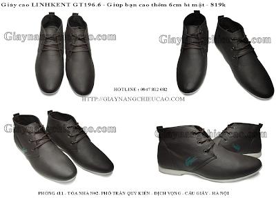 Giày nam tăng chiều cao Linh Kent GT196. 6