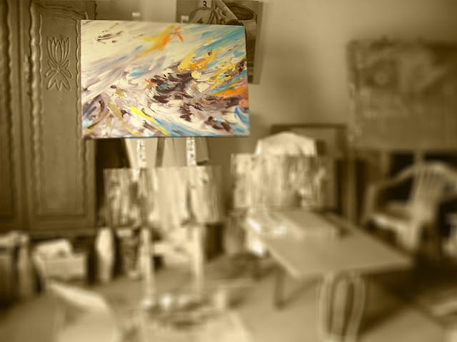 abstract painting in studio south african artist