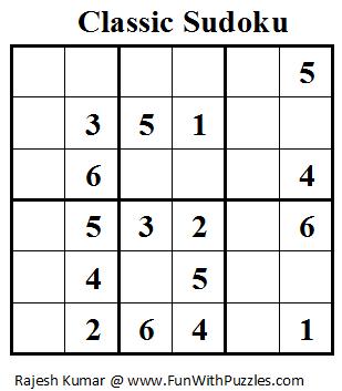 Classic Sudoku (Mini Sudoku Series #14)