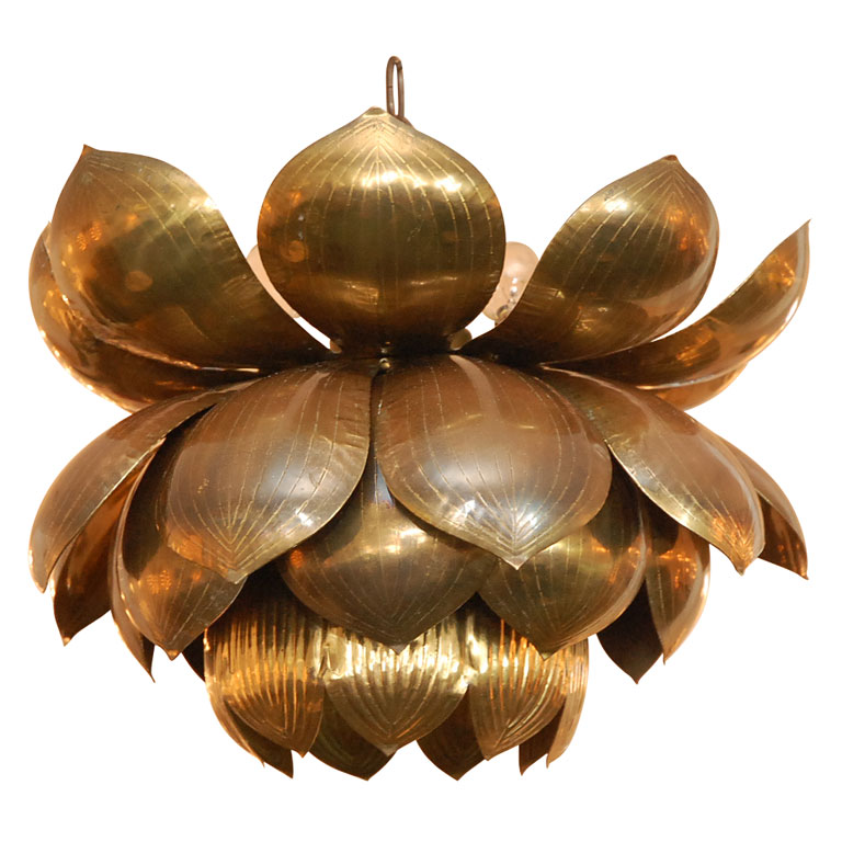 1st Dibs Brass Lotus Flower Chandelier