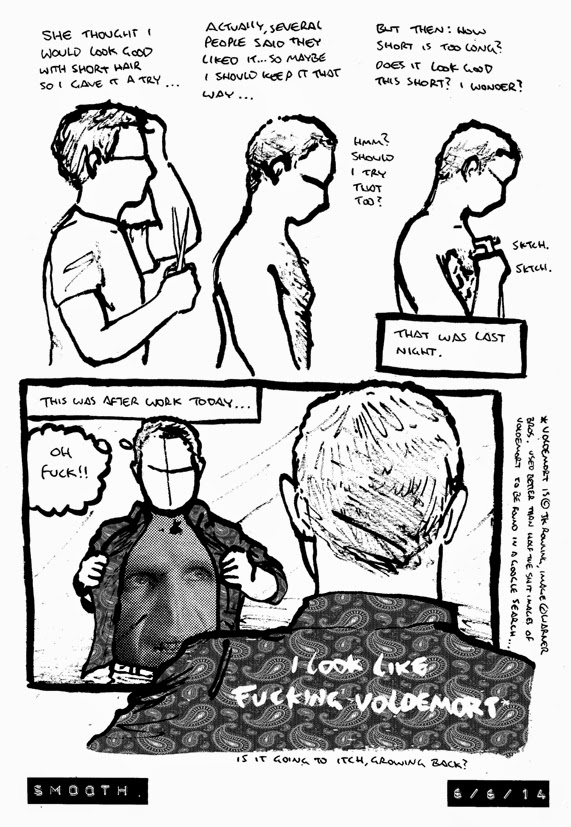 comic about shaving chest hair and ones torso looking like voldemort from the harry potter books