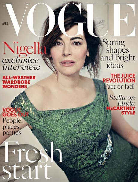Nigella Lawson, April 2014, British Vogue Cover, make-up free