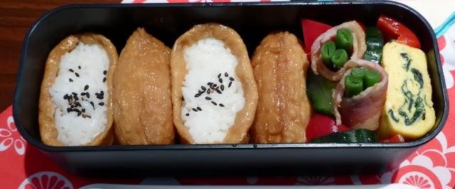 【便當の人生#5】稻荷壽司、培根四季豆捲、漬小黃瓜紅椒、海帶玉子燒