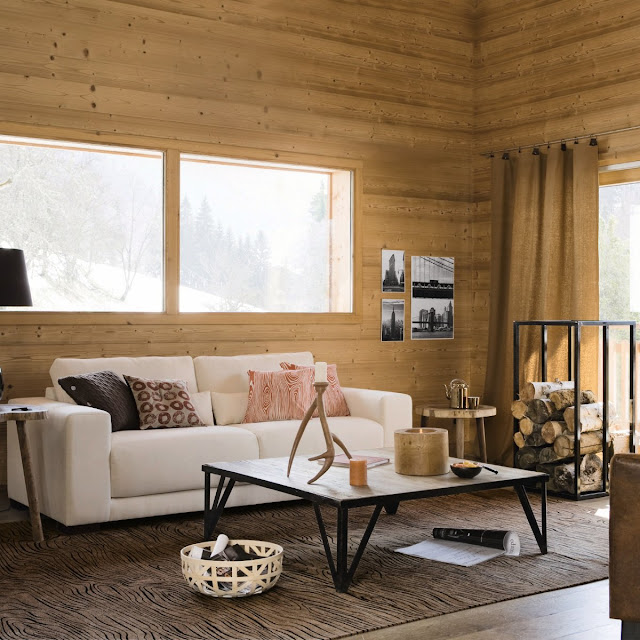 d co chalet scandinave canap blanc et cabane en bois dekobook. Black Bedroom Furniture Sets. Home Design Ideas