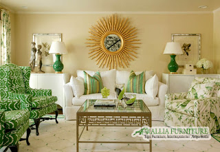 warna emerald zamrud di ruang tamu