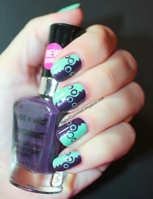 purple and green dots and waves
