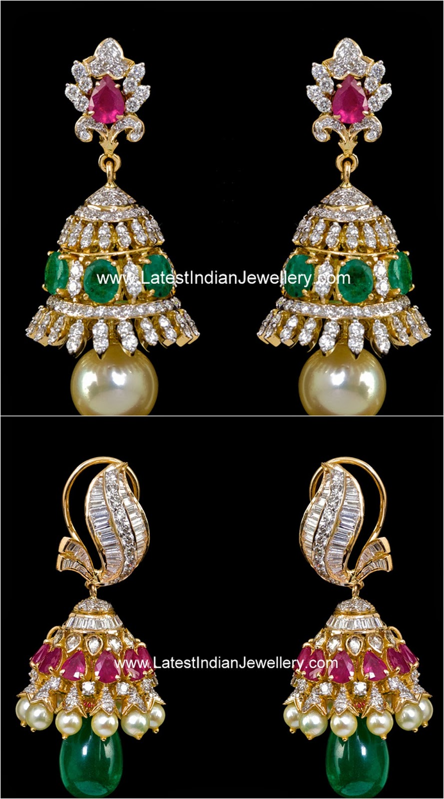 Colorful Diamond Studded Jhumkas