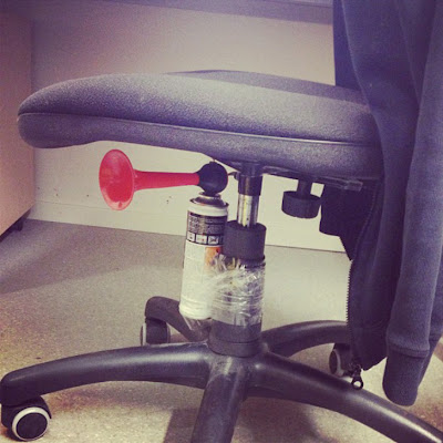 Air horn office chair prank