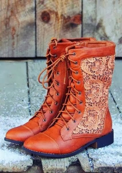 Lace Leather Boots