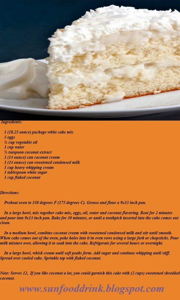 Ingredients:       1 (18.25 ounce) package white cake mix     3 eggs     ⅓ cup vegetable oil     1 cup water     ½ teaspoon coconut extract     1 (14 ounce) can coconut cream     1 (14 ounce) can sweetened condensed milk     1 cup heavy whipping cream     1 tablespoon white sugar     1 cup flaked coconut   Directions:      Preheat oven to 350 degrees F (175 degrees C). Grease and flour a 9x13 inch pan.           In a large bowl, mix together cake mix, eggs, oil, water and coconut flavoring. Beat for 2 minutes and pour into 9x13 inch pan. Bake for 30 minutes, or until a toothpick inserted into the cake comes out clean.           In a medium bowl, combine coconut cream with sweetened condensed milk and stir until smooth. When cake comes out of the oven, poke holes into it in even rows using a large fork or chopsticks. Pour milk mixture over, allowing it to soak into the cake. Refrigerate for several hours or overnight.           In a large bowl, whisk cream until soft peaks form. Add sugar and continue whipping until stiff. Spread over cooled cake. Sprinkle top with flaked coconut.   Note: Serves 12,  If you like coconut a lot, you could garnish this cake with (2 cups) sweetened shredded coconut.