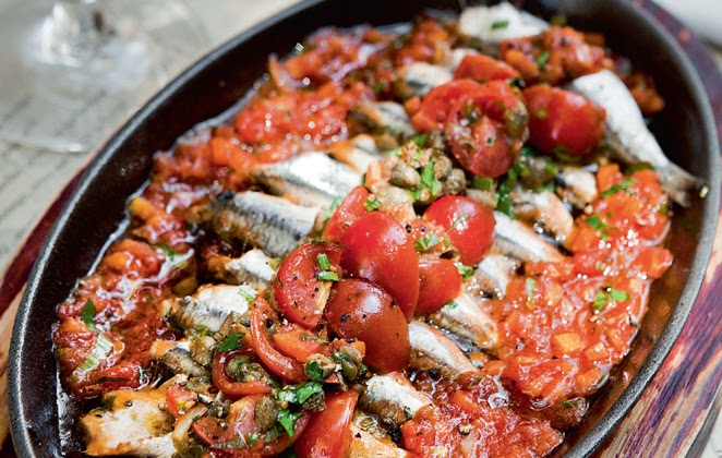 Roast anchovies with tomato and olive oil, Mediterranean Diet, The Cretan Diet