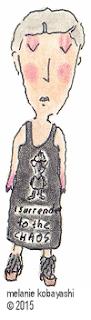 Mel Kobayashi, Bag and a Beret, sketch, I surrrender to the chaos dress