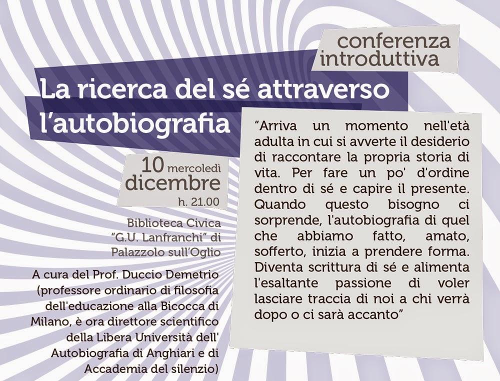 La ricerca di sé attraverso l'autobiografia con il Prof. Duccio Demetrio