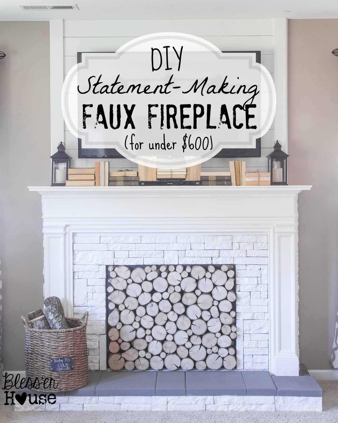 Cost of building a fireplace - Diy Faux Fireplace Blesser House Featured On Remodelaholic Buildit Tutorial