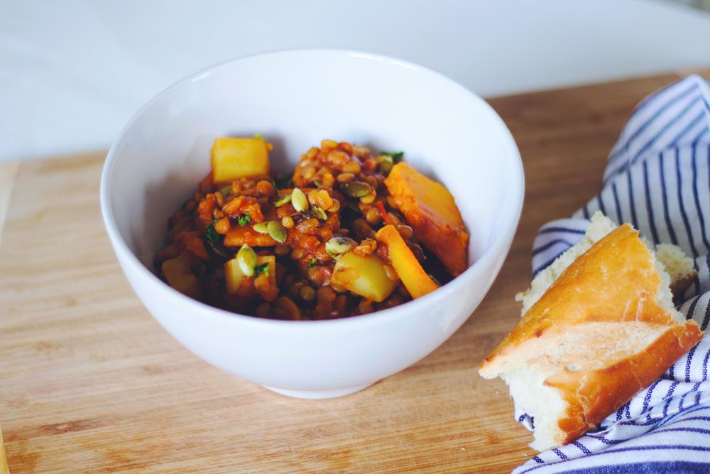 Super Pumpkin Lentil Stew, Copyright aldentegourmet blog