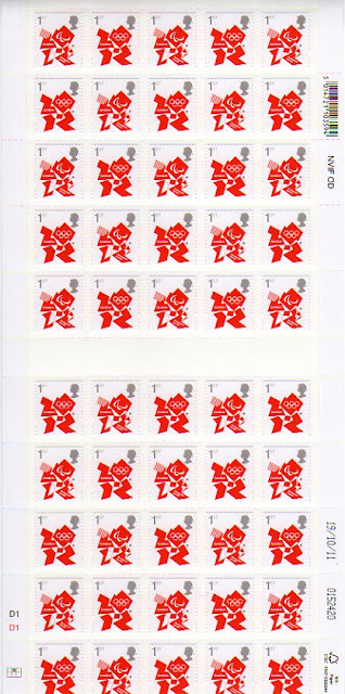Double-pane Sheet of 50 1st class olympic definitives.