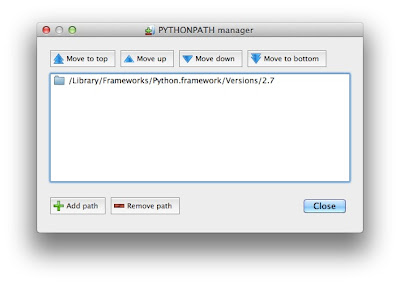 SpyderのPYTHON PATH設定画面