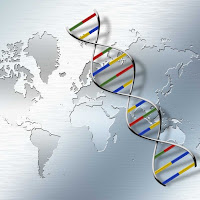 DNA strand over map of the world (Photo: BioBM.com)