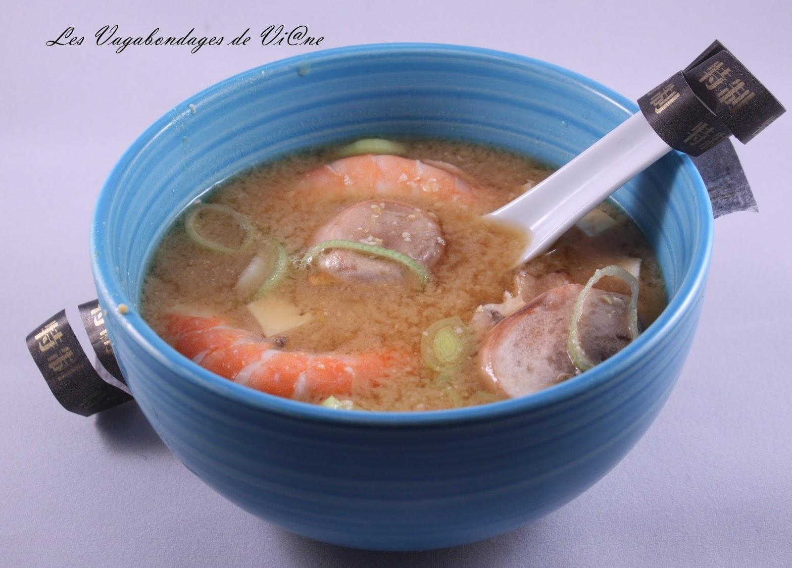 Les vagabondages de vi ne soupe miso aux crevettes - Soupe miso ingredient ...