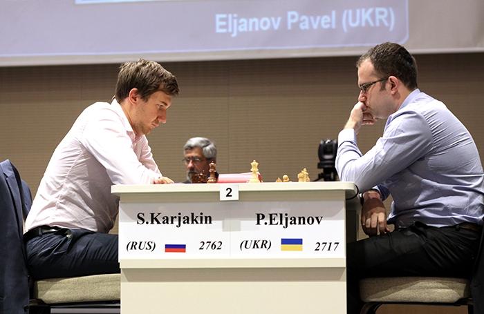 Le joueur d'échecs ukrainien Pavel Eljanov a bien failli surprendre le Russe Karjakin © site officiel