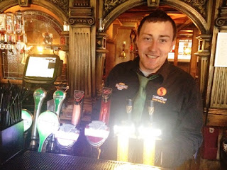 Paddy Woods tending bar in Galway.