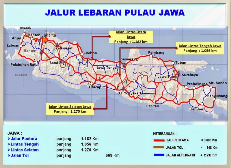 Peta Jalur Mudik Lebaran Pulau Jawa 2015