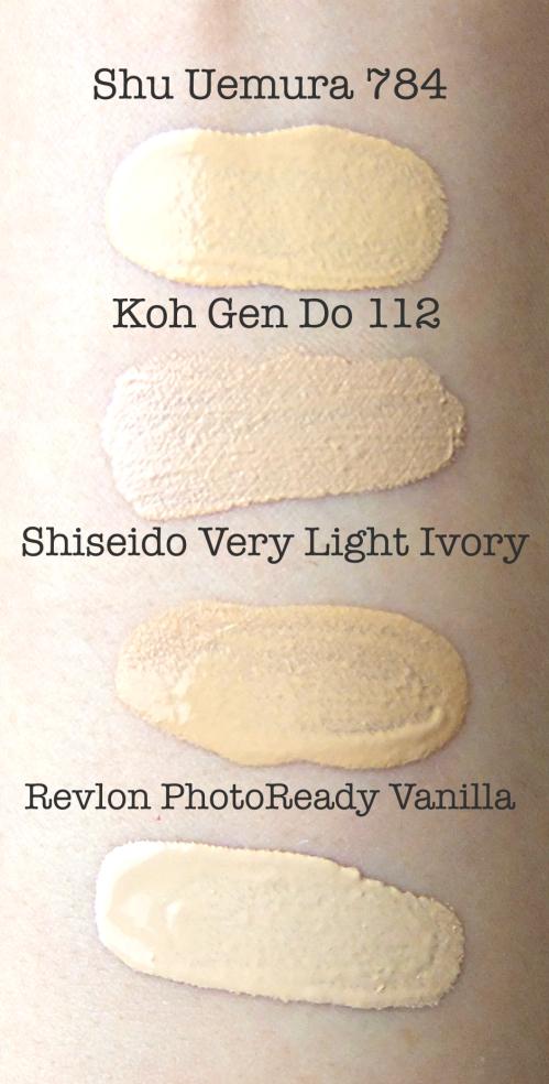 Koh Gen Do Moisture Foundation 112 swatch comparison