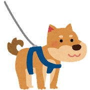 ハーネスをつけた犬のイラスト